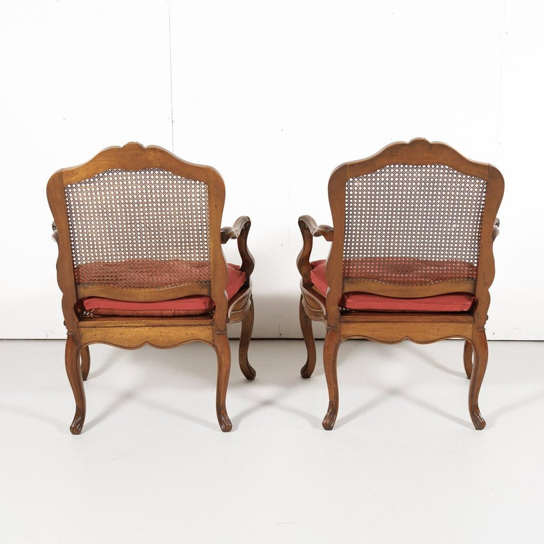 Pair of 19th Century Country French Louis XV Style Walnut and Cane Armchairs For Sale 13