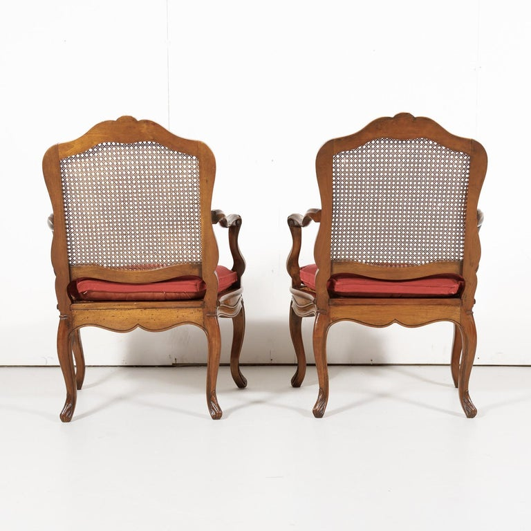 Pair of 19th Century Country French Louis XV Style Walnut and Cane Armchairs For Sale 14