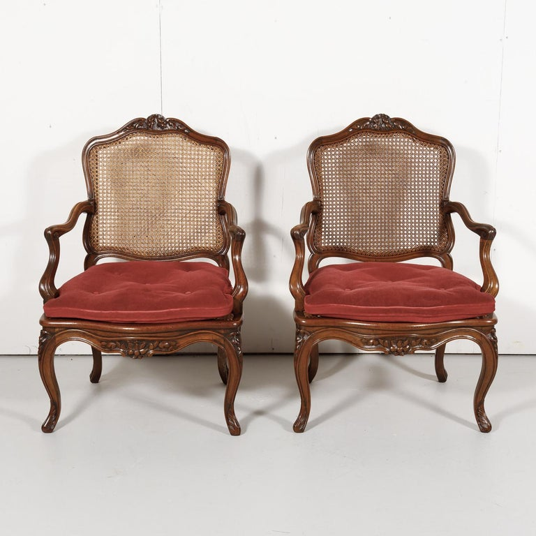 Pair of 19th Century Country French Louis XV Style Walnut and Cane Armchairs In Good Condition For Sale In Birmingham, AL