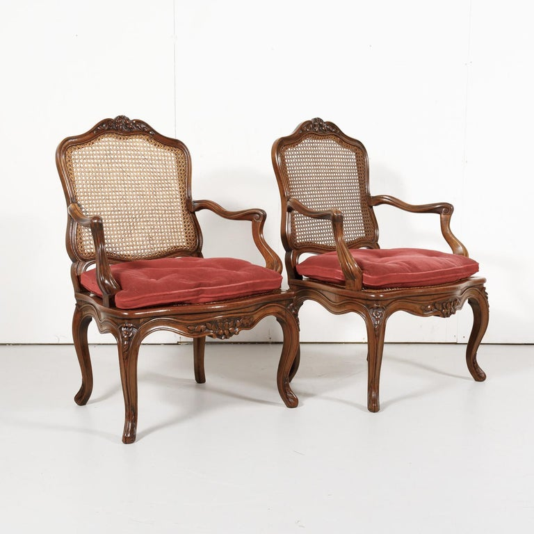 Pair of 19th Century Country French Louis XV Style Walnut and Cane Armchairs For Sale 1