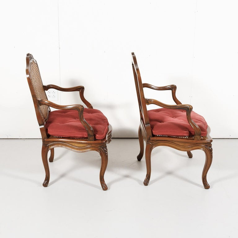 Pair of 19th Century Country French Louis XV Style Walnut and Cane Armchairs For Sale 2
