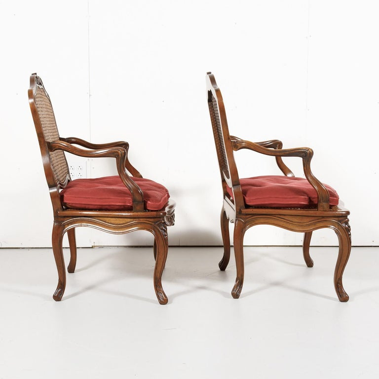 Pair of 19th Century Country French Louis XV Style Walnut and Cane Armchairs For Sale 3