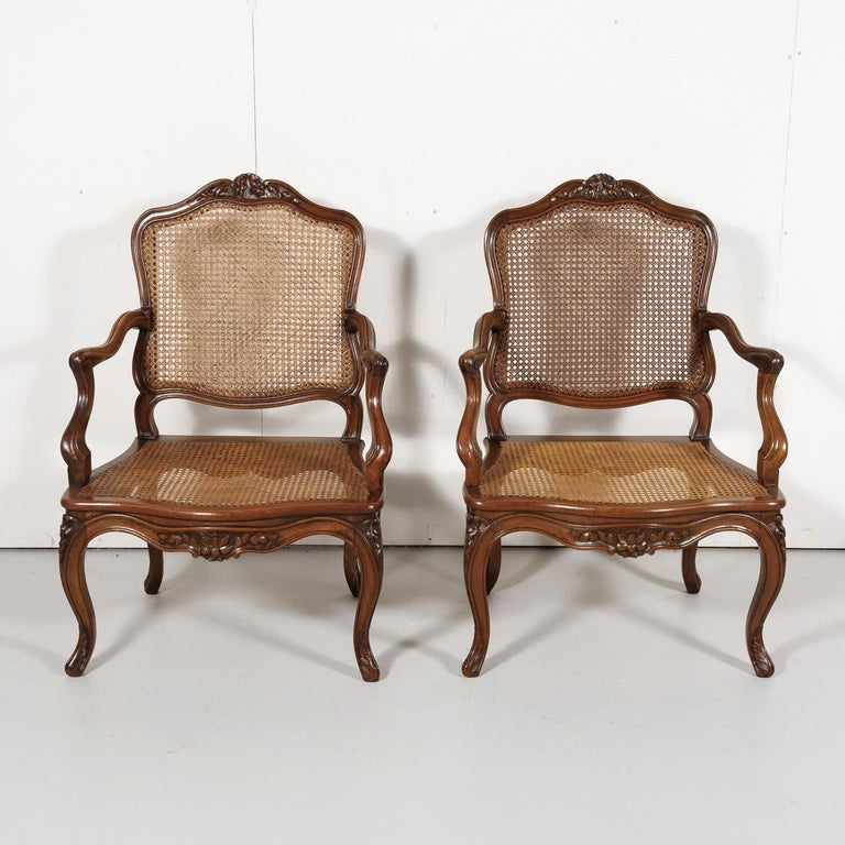 Pair of 19th Century Country French Louis XV Style Walnut and Cane Armchairs For Sale 4