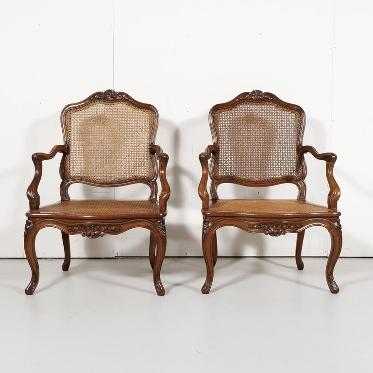 Pair of 19th Century Country French Louis XV Style Walnut and Cane Armchairs For Sale 5