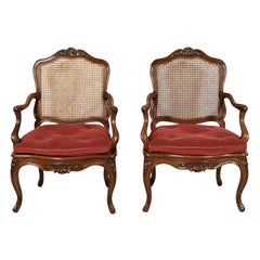 Pair of 19th Century Country French Louis XV Style Walnut and Cane Armchairs