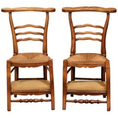 Pair of 19th Century Country French Walnut and Rush Convertible Prayer Chairs
