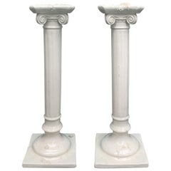 Pair of 19th Century Creamware Porcelain Candlesticks