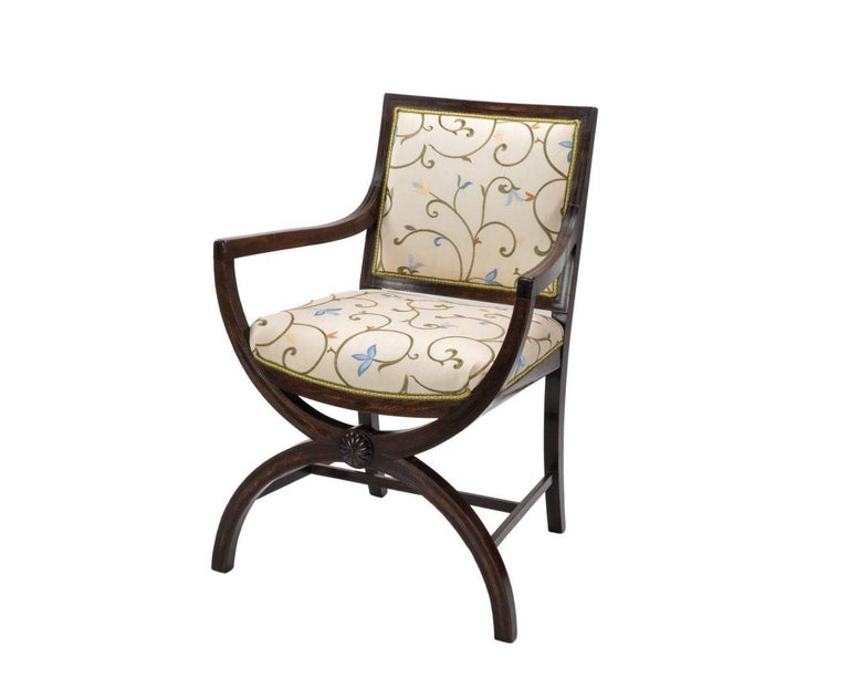 Regency Revival Pair of 19th Century Curule Armchairs in the Manner of Thomas Hope For Sale