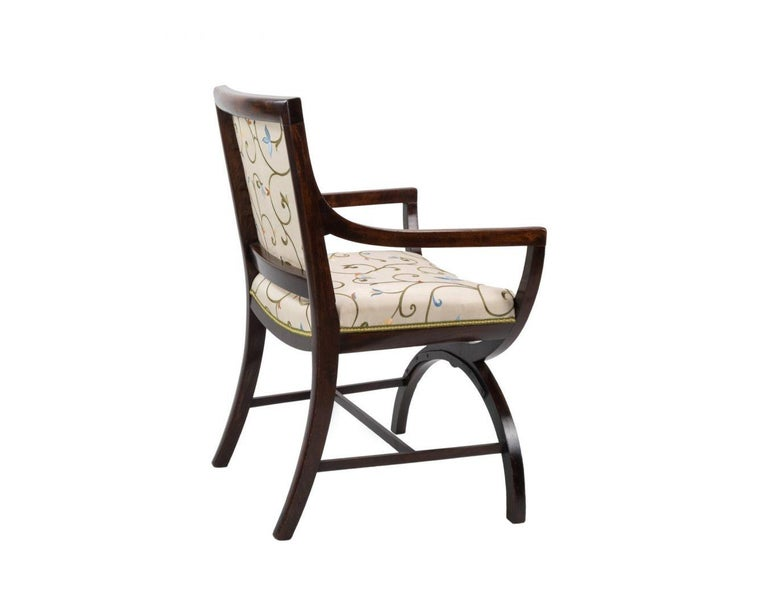 British Pair of 19th Century Curule Armchairs in the Manner of Thomas Hope For Sale
