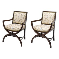 Pair of 19th Century Curule Armchairs in the Manner of Thomas Hope