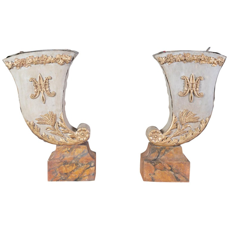 Pair of 19th Century Decorative Tole Planters For Sale
