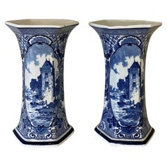 Pair of 19th Century Delft Blue and White Vases