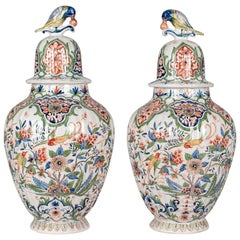 Pair of 19th Century Delft Faience Ginger Jars