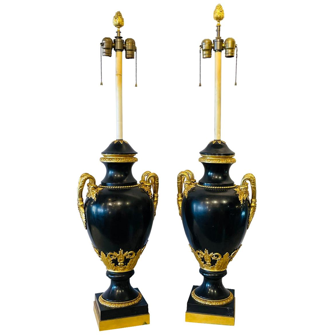 Pair of 19th Century Doré and Black Marble Table Lamps or Urns