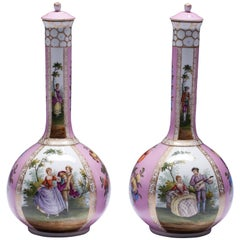 Pair of 19th Century Dresden Porcelain Bottle Shaped Vases with Covers