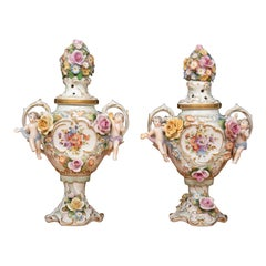 Pair of 19th Century Dresden Style Lidded Potpourri Vases