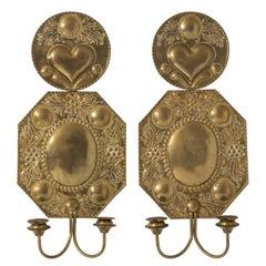 Pair of 19th Century Dutch Brass Repousse Sconces
