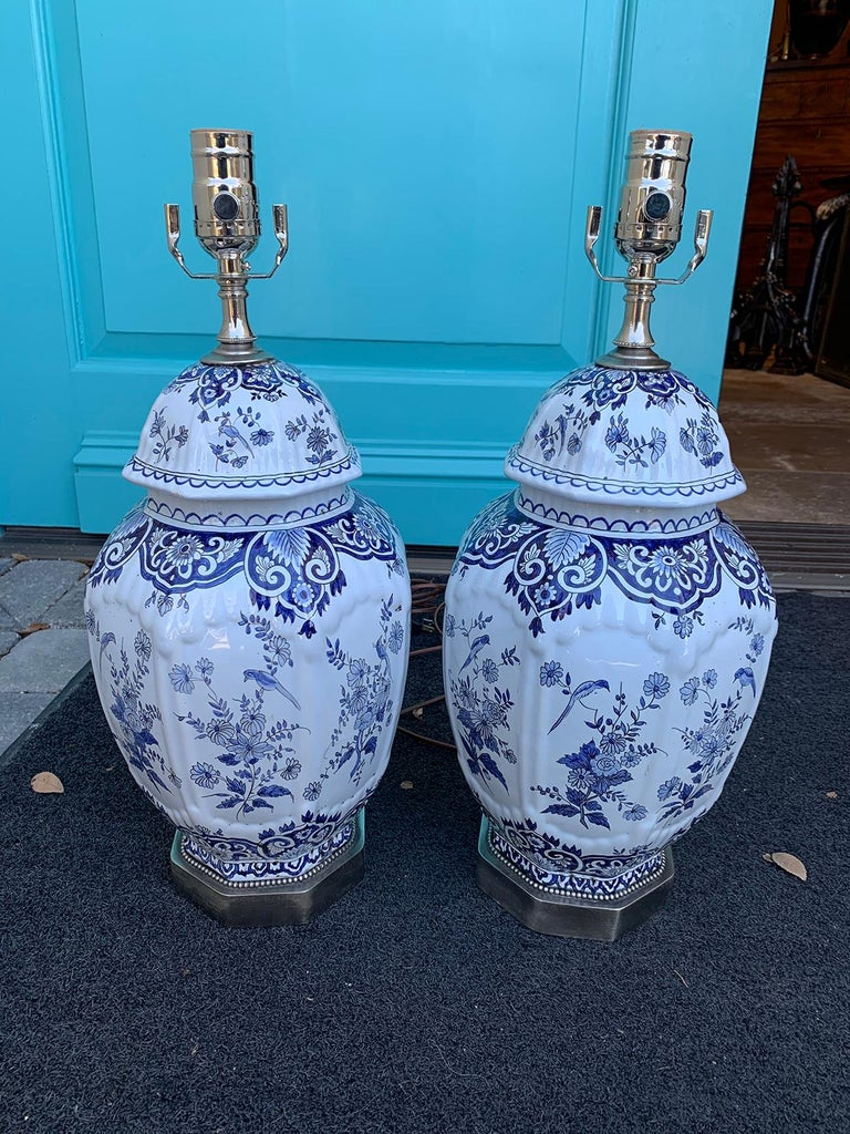 Pair Of 19th Century Dutch Delft Blue And White Lamps At