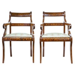 Pair of 19th Century Dutch Walnut Marquetry Armchairs