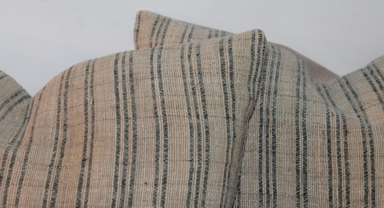 Country Pair of 19th Century Early Linen Pillows For Sale