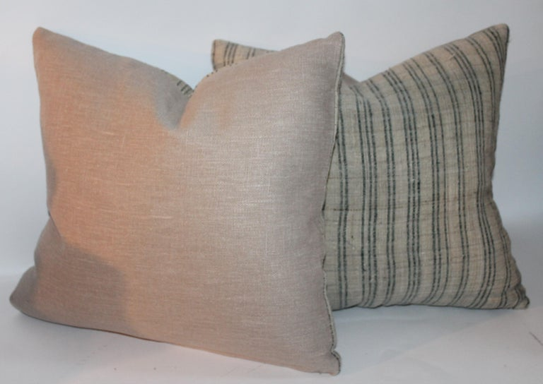 Pair of 19th Century Early Linen Pillows For Sale 1