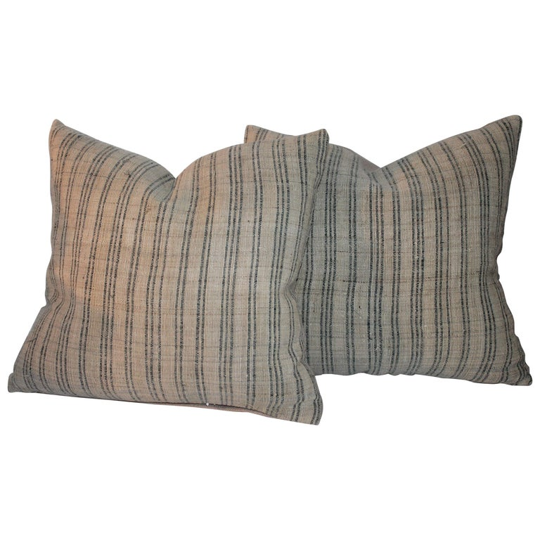 Pair of 19th Century Early Linen Pillows For Sale