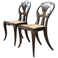 Pair of 19th Century Ebonised Side Chairs