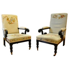 Pair of 19th Century Ebonized Louis Napoleon Upholstered Armchairs