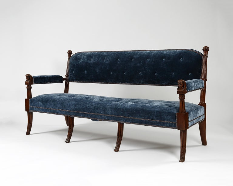 Egyptian Revival Pair of 19th Century Egyptian Style Settees For Sale