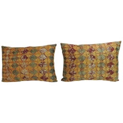 "Pair of 19th Century Embroidery Indian ""Phulkari"" Decorative Bolster Pillows"