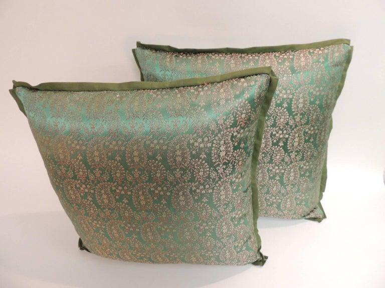 Moorish Pair of 19th Century Embroidery Indian Saree Decorative Pillows For Sale