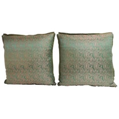 Pair of 19th Century Embroidery Indian Sari Decorative Pillows
