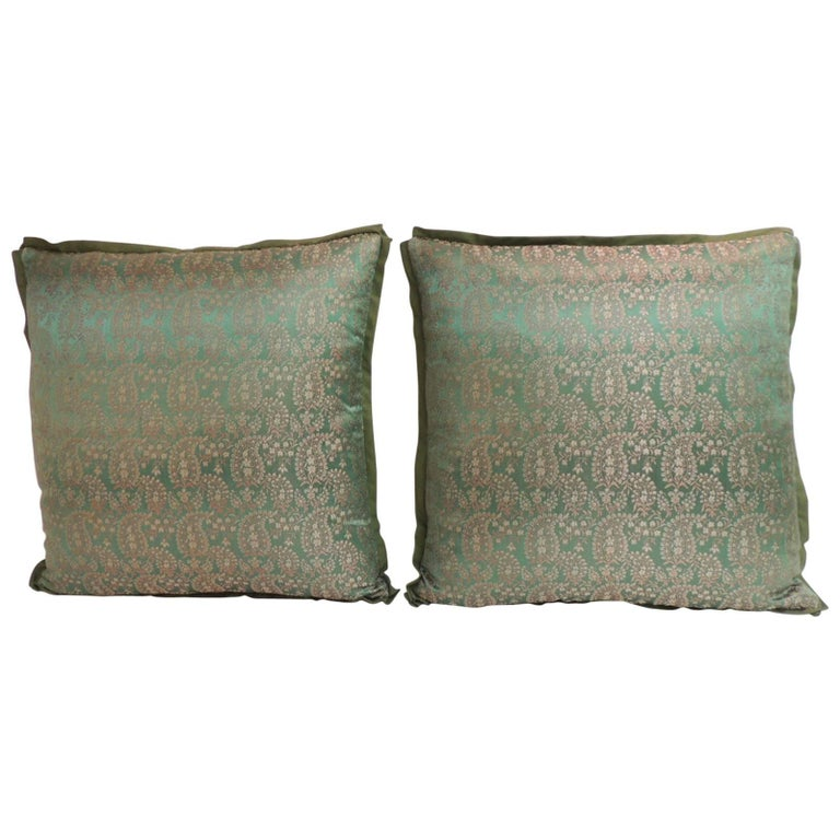 Pair of 19th Century Embroidery Indian Saree Decorative Pillows For Sale