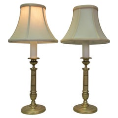 Pair of 19th Century Empire Bronze Candlestick Lamps