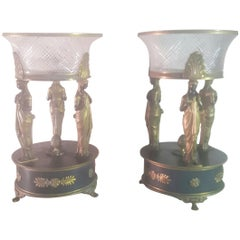 Pair of 19th Century Empire Bronze Center Pieces