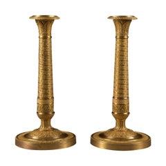 Pair of 19th Century Empire Bronze Fire-Gilded Candlestick, circa 1800