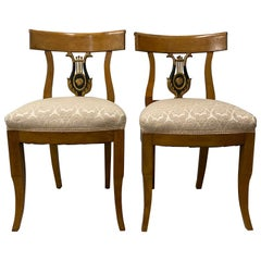 Pair of 19th Century Empire Lyre Back Dining Chairs
