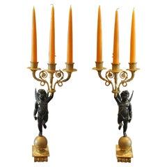 Pair of 19th Century Empire Ormolu and Bronze Cupid Sconces