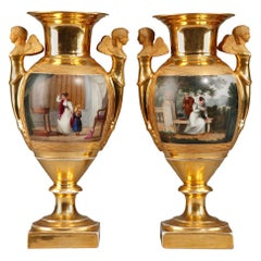 Pair of 19th Century Empire Porcelain Vases