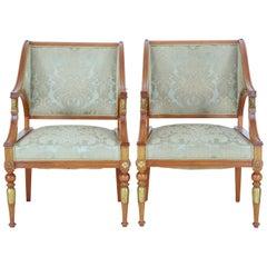 Pair of 19th Century Empire Revival Walnut Armchairs