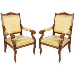 Pair of 19th Century Empire Style Armchairs