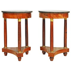 Pair of 19th Century Empire Style Gilt Bronze Mounted Marble-Top End Tables