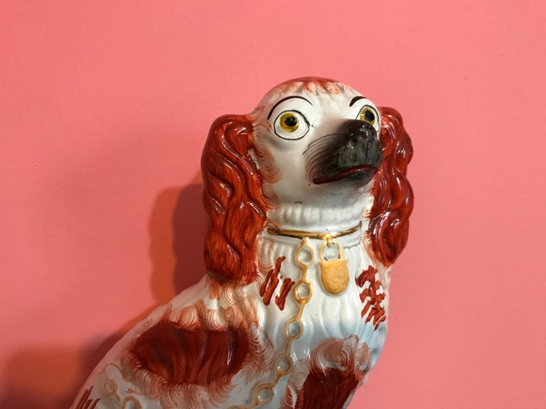 Pair of 19th Century English #1 Staffordshire Red Seated Spaniel Dogs For Sale 9
