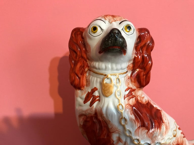 Pair of 19th Century English #1 Staffordshire Red Seated Spaniel Dogs For Sale 2