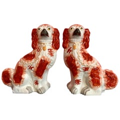 Pair of 19th Century English #1 Staffordshire Red Seated Spaniel Dogs