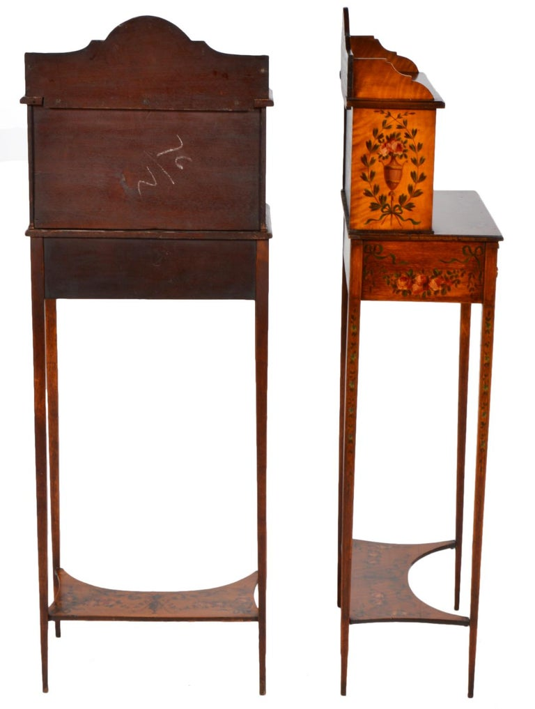 Pair of 19th Century English Adam Style Painted Satinwood Display Cabinet Stands For Sale 7