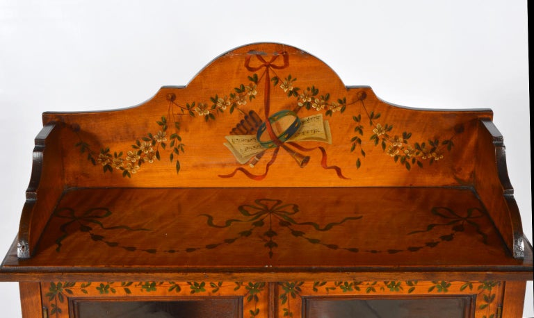 Pair of 19th Century English Adam Style Painted Satinwood Display Cabinet Stands For Sale 8
