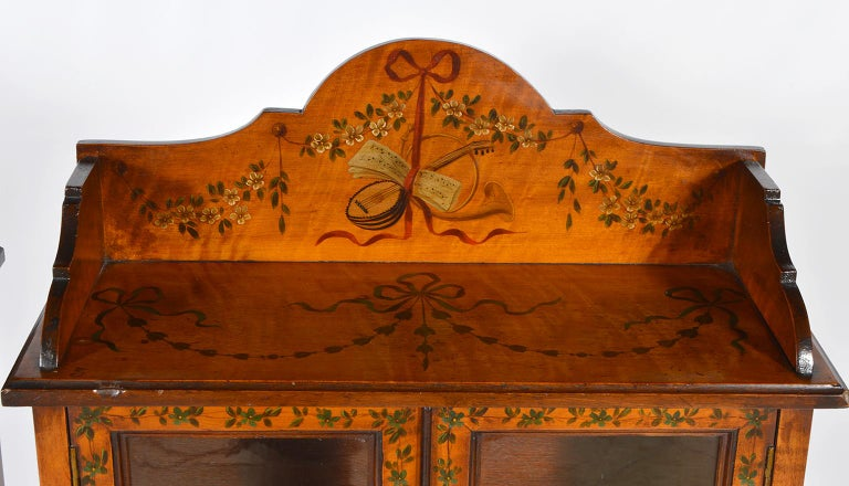 Pair of 19th Century English Adam Style Painted Satinwood Display Cabinet Stands For Sale 9