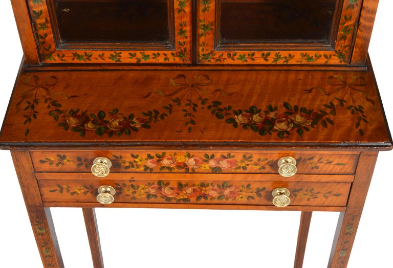 Pair of 19th Century English Adam Style Painted Satinwood Display Cabinet Stands For Sale 1