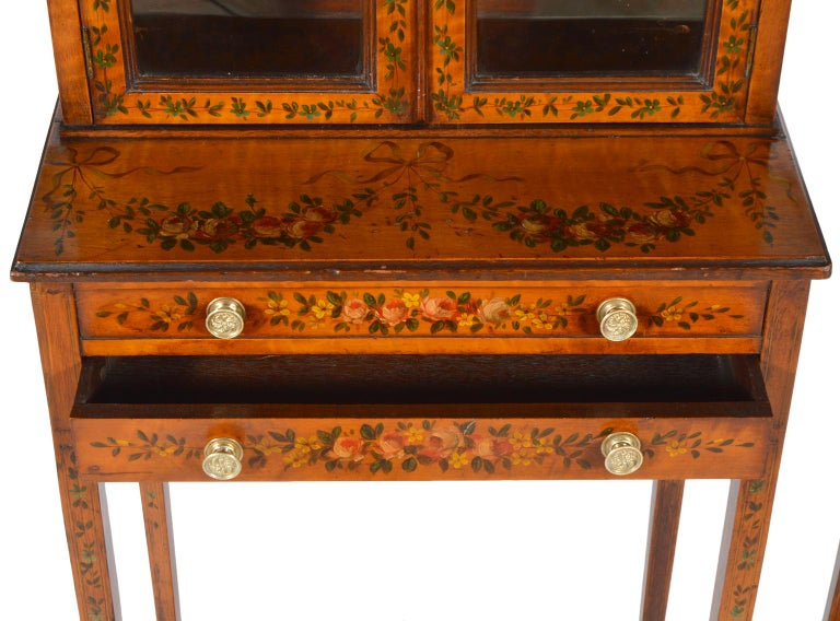 Pair of 19th Century English Adam Style Painted Satinwood Display Cabinet Stands For Sale 2